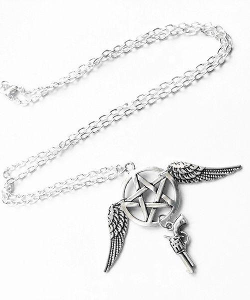 Ange Ailes Revolver Gun Sorcellerie Pentagram Supernatural Colliers Bijoux Hommes Femmes Vintage Argent Collier Pentacle Collier Pendentif