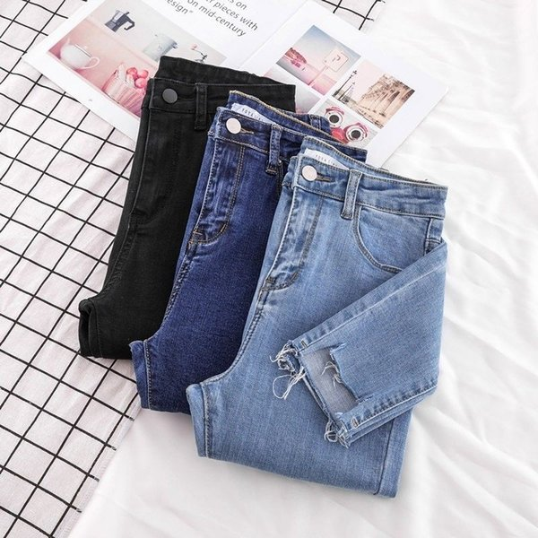 New Skinny Pencil Jeans Female Denim Pants Women Blue Pants Ripped Stretch Waist Women Ankle Length Slim Jeans Plus Size