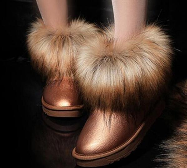 Hiver coton mode femmes chaud classique cheveux longs Bottes se mettent à genoux Bottines noir gris rose 10 couleur femmes bottes de neige Taille 35-41