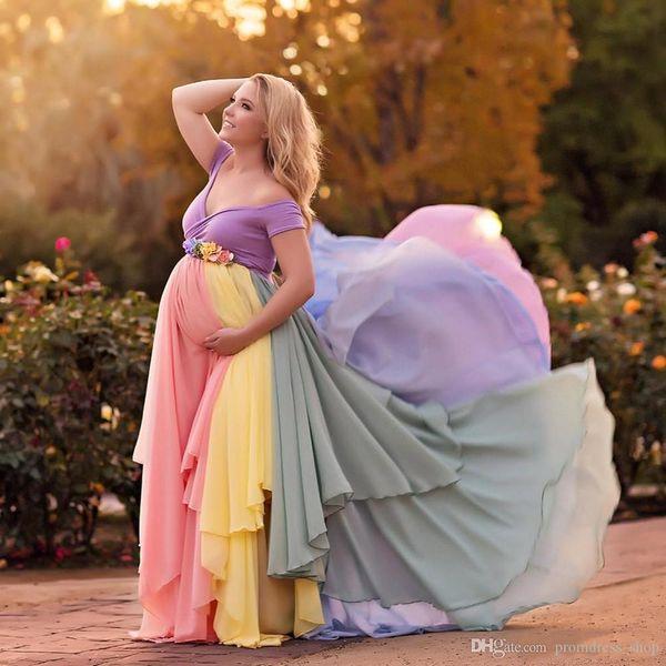 Coloridos vestidos de gasa de maternidad para la sesión fotográfica del manga corta de tul con gradas del piso de longitud vestido de embarazada del hombro vestido de noche