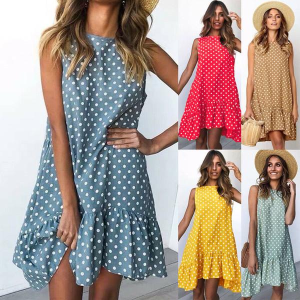Plus Size XXL Summer New Women Polka Dot Print Ruffles Swing Mini Dress Ladies Summer Beach Casual Irregular Sundress
