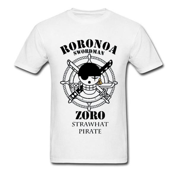 Tops Roronoa Zoro T-shirt Homens Espadachim Fãs Camiseta Chapéu de Palha do logotipo do crânio T-shirt One Piece Streetwear personalizado Amigos Tees