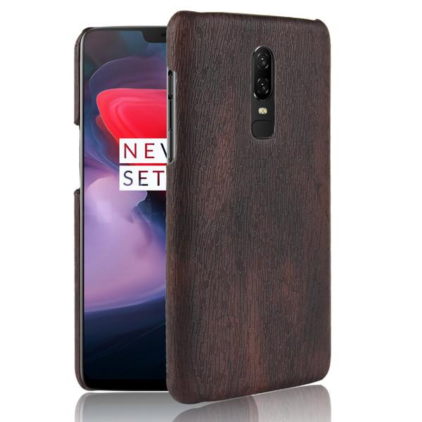 Para oneplus 6 couro duro retro madeira grão phone case para oneplus 6 tampa traseira