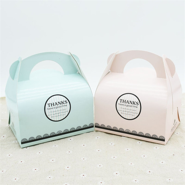 100 X Green&Pink Portable Handle Bakery Cake Boxes Mousse Cookies Pastry Packaging Boxes Wholesale