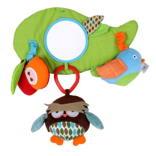 2019 Baby Plush Soft Owl Lathe Hanging Bells Baby Toy for Bed with Distorting Mirror Rattle Bed Hanging Toys 2019