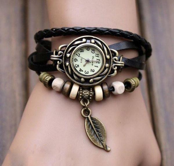 Fashion Womens Bracelet Watch Women Weave Wrap Quartz Leather Leaf Beads Wrist Watches Lady relojes mujer 2016 Hot Sale