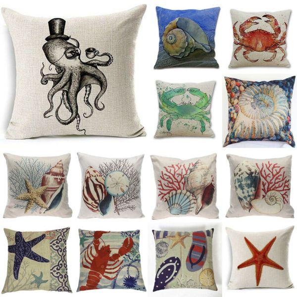 Seite eins Strand Küste Seestern Conch Octopus Muster Baumwolle Leinen Kissen Kissenbezug Startseite dekorative Geschenke auf einer Seite Kissenbezug gedruckt