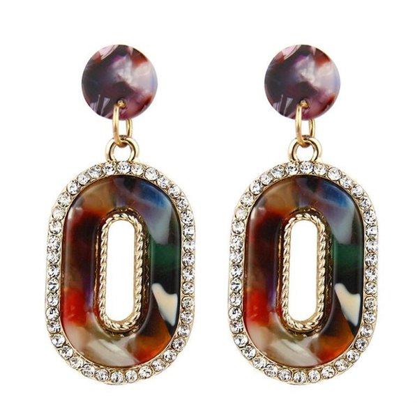 Nouveau Mode Femmes Coloré Forme Carrée Oreille Stud Strass Boucles D'oreilles Bijoux Beau Cadeau Décoration Livraison Gratuite