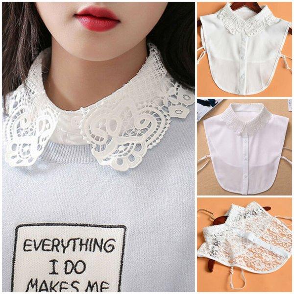 Falso collar desmontable collares manera de las mujeres del cordón blanco para la camisa del suéter de la blusa de la ropa de las señoras