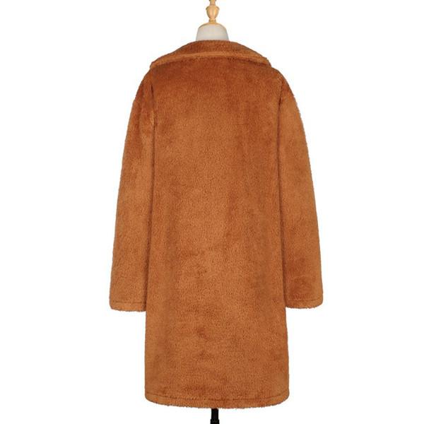 Women Outwear Jacket Warm Ladies Solid Coat Artificial Fleece Trench Lapel Cardigan Autumn Winter Casual Long Sleeve