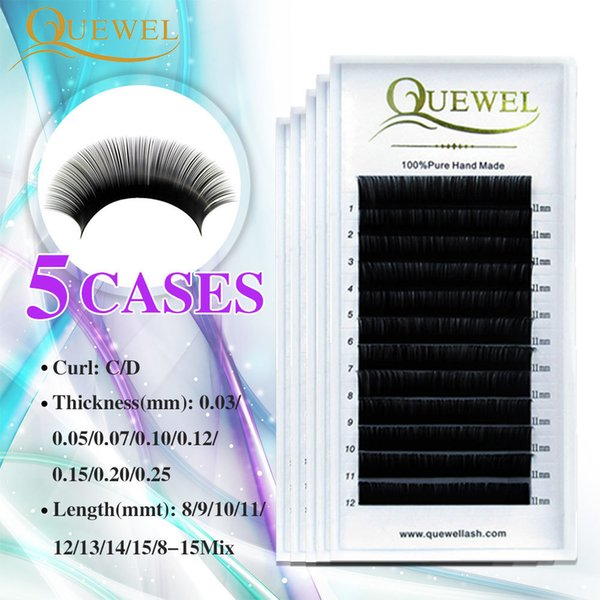 Individual Eyelashes Extension False Mink Volume Eyelash Extensions Lash Silk Fiber Natural Thick Soft Lash Professional Quewel J190706
