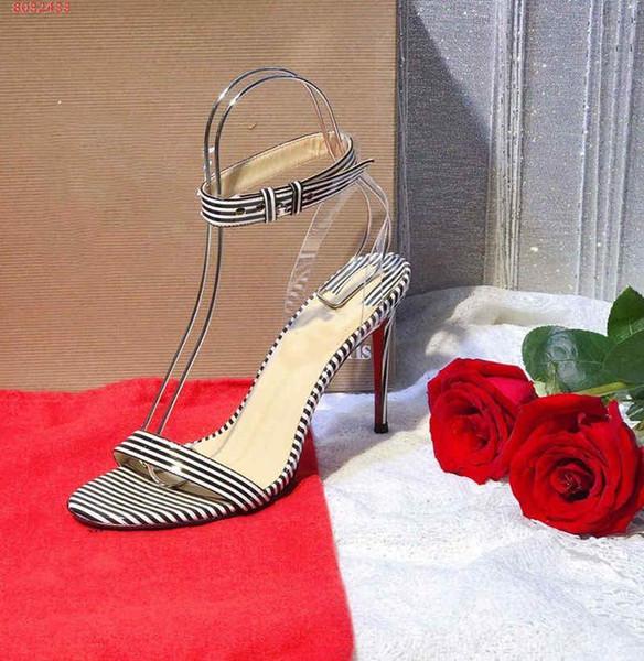 Venta caliente-Moda estampado de cebra sandalias de tacón alto gusto moda Elegante libre de vulgaridad Puro y fresco comodín tamaño 35-41