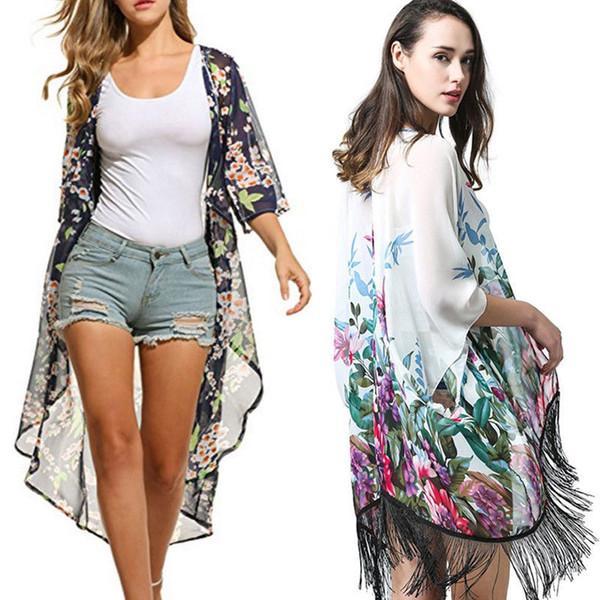 c9935b96d52a Compre Traje De Baño De Verano Para Mujer Cubrir Blusas De Playa Estampado  De Media Manga Casual Mujer Ropa Tops A $24.61 Del Bibei08   DHgate.Com