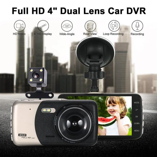 """Freeshipping 4""""Dual Lens Car DVR Camera Recorder Dash Cam Camcorder Car DVR with Two Cameras Blackbox Dash Cam Night Vision DashCam"""