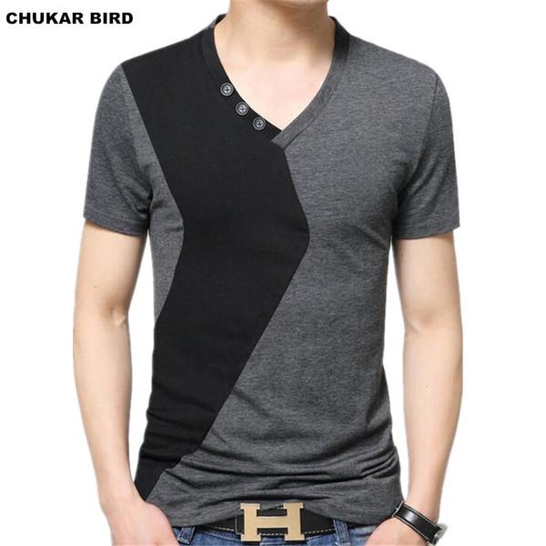 CHUKAR BIRD Mens V Neck T-Shirts Luxury Casual Slim Fit Stylish Short Sleeve T Shirt Men T-shirt Men Tops M L XL 2XL 3XL 5XL