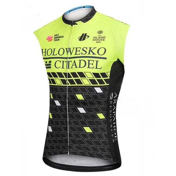 Nuova squadra ciclistica EUSKALTEL / Gazprom / Holowesko Estate ciclismo maglia da uomo senza maniche maglia traspirante bicicletta sportiva uniforme Y032809