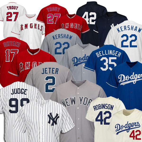 best selling 99 Aaron Judge 2 Derek Jeter Baseball Jerseys 22 Clayton Kershaw 35 Cody Bellinger 27 Mike Trout 17 Shohei Ohtani