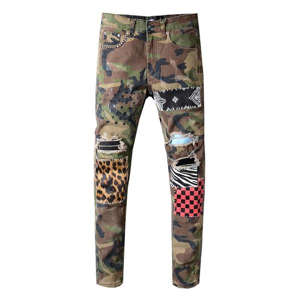Sokotoo étoiles patchwork de léopard de camouflage Les hommes ont imprimé jean trous de rivets Slim rippés pantalons en denim stretch à carreaux