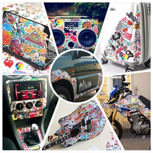100X Funny Car Stickers on Motorcycle Suitcase Home Decor Phone Laptop Covers DIY Vinyl Decal Sticker Bomb JDM Car styling