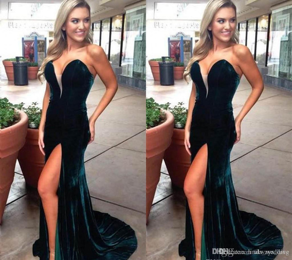 2019 Hunter Velvet Long Prom Dress Plugging V Neck Formal Holidays Wear Graduation Evening Party Gown Custom Made Plus Size