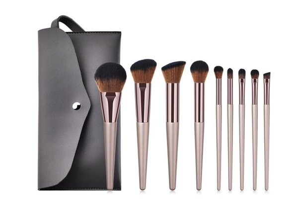 top quality 9pcs Makeup Brushes set Beauty Tools Flame powder brush Brush Eye Shadow Brush Set with pouch bag