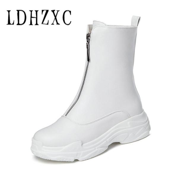 LDHZXC 2019 Mulheres Botas Dedo Do Pé Redondo Quadrado Saltos Zipper Inverno Outono Sapatos Ankle Boots Sapatos de Mulher Tamanho 44 45 46