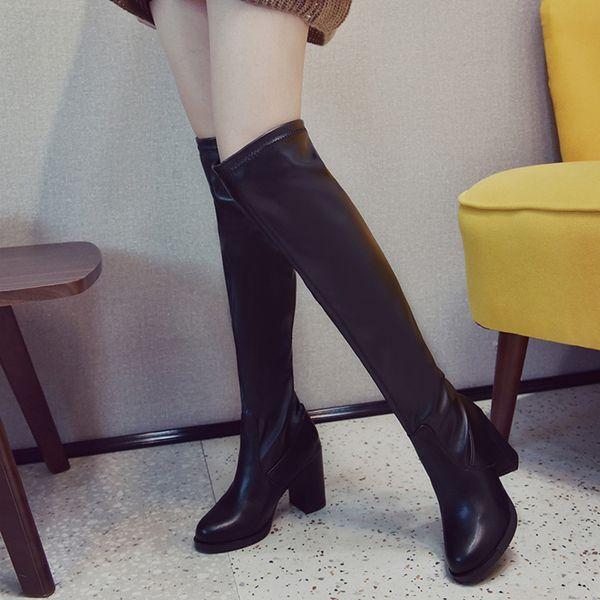 YOUYEDIAN New Hight Boots Moda Mujer Soild Punta redonda Zapatos de tacón cuadrado Party western boots cowboy women # A3