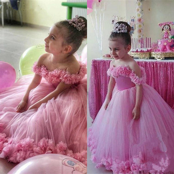 2019 Pink 3D Floral Ball Gown Flower Girls Dresses Off Shoulder Puffy Toddler Pageant Dress Wedding Little Baby Gowns for Communion