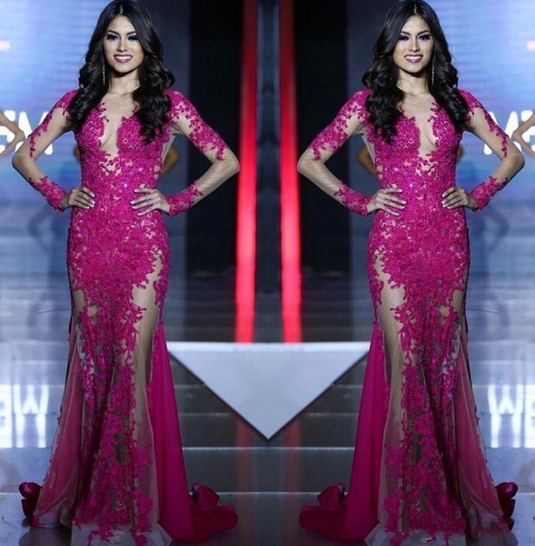 Long Sleeves Lace Appliques Mermaid Fuchsia Custom See Through Sweep Train Formal Prom Dress Party Gowns 2019 New Miss World Evening Dresses