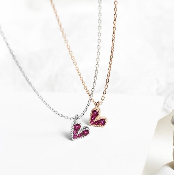 S925 sterling silver rose red love necklace Korea light luxury wind simple sweet beauty student mini pendant clavicle chain jewelry