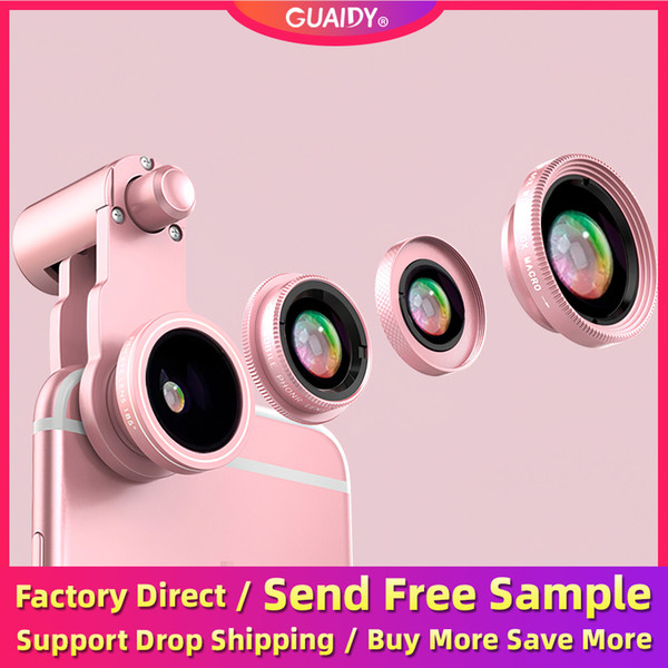 4 In 1 Fisheye Wide Angle Macro Mobile Polarized Phone Camera Lens HD External Telephoto SLR Special Effects Clip Non-slip For Smartphone