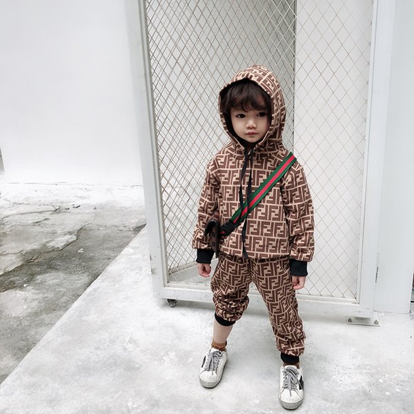 Kids Designer Clothings Sets 2019 New Luxury Print Tracksuits Fashion Letter FF Hoodie + Joggers Boys Girls Childs Casual Soprtwear 2 Styles