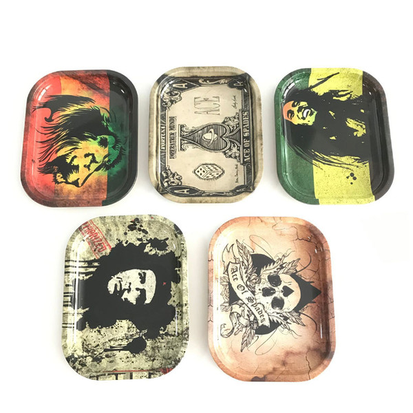 Metal Roll Rolling Trays Bob Marley Tray 18Cm*14Cm*1.5Cm Papers 6 Pattern Leaf For Glass Bong Smoking Accessories Dish Plate Herb Handroller