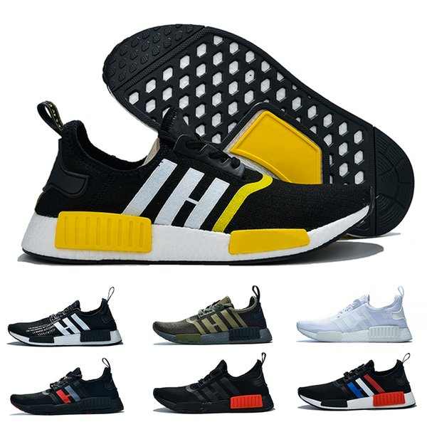 NMD R1 Runner For Men Women Running Shoes atmos Balck White Red Yellow Olive France Fashion Designer Trainers Sport Sneaker Free Shipping