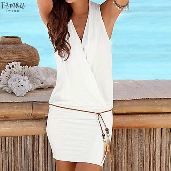 Kleid-Sommer-Frauen-beiläufiger Strand der Frauen beiläufige Sleeveless Partei-Strand-Minikleid-Strand-Kleid von Designer-Kleidung