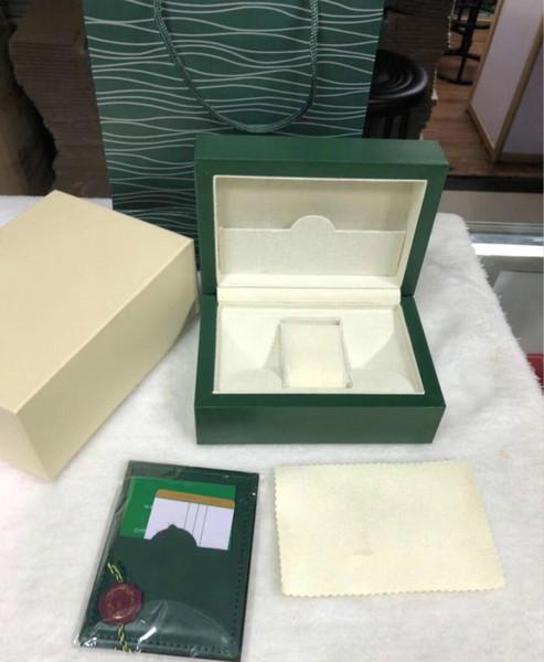 Top de Luxo Assista Verde Caixa de Relógio Papers Relógios de Presente Caixas De Couro De Madeira Tag saco Cartão 0.8 KG Para Rolexes Caixa De Relógio