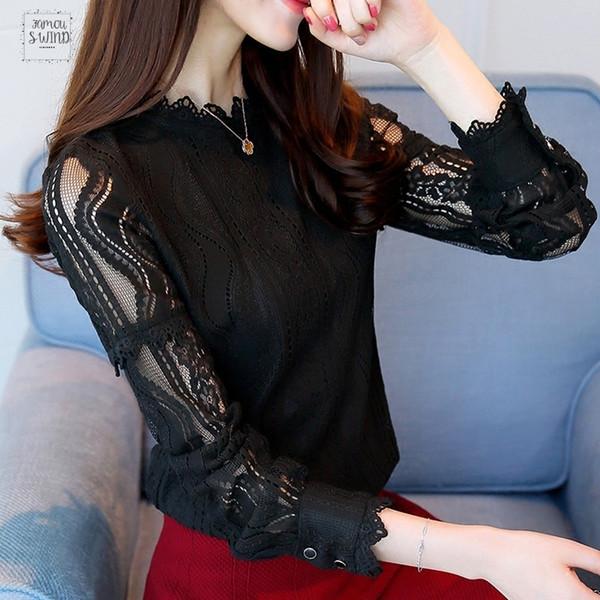 2019 nuevos de la llegada de las mujeres manera de las tapas de la blusa de encaje Femininas otoño de manga larga más el tamaño de camisas hueco hacia fuera Renda Blusas Verde