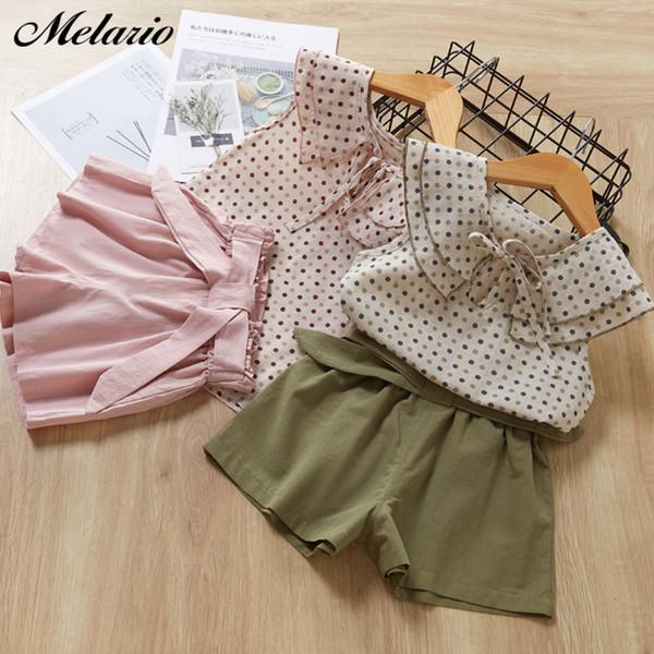 Melario Casual Kız Giyim Takım Elbise Moda Kız Elbise Sevimli Nokta T-shirt Şort Takım 2 Adet çocuk Yelek Çocuklar Kostüm Kıyafet