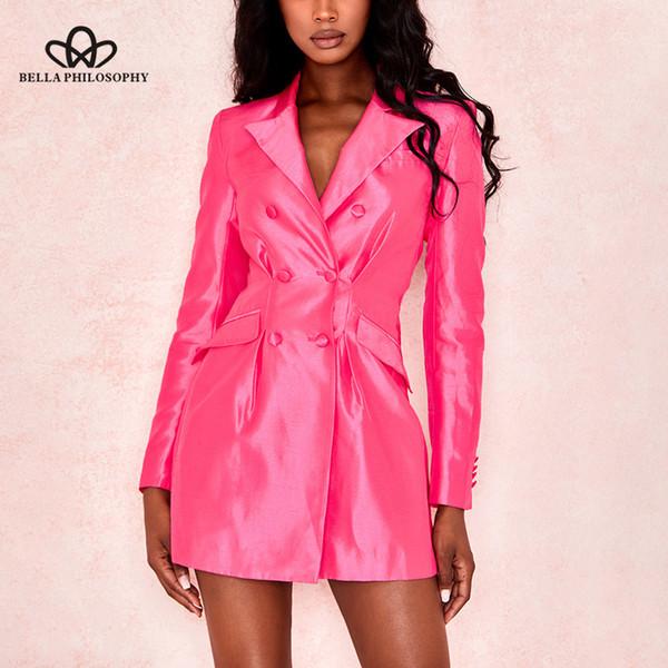 Bella filosofía 2019 Otoño mujer Blazers rosas de doble botonadura Chaquetas de oficina de manga larga Blazer básico delgado y flaco
