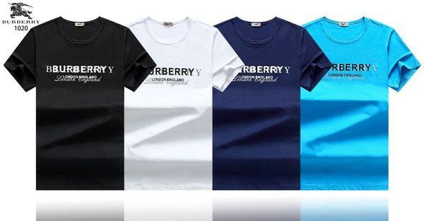 Material de algodón de la camiseta de los hombres Nuevo 4 Color Pequeña camiseta Cuello de manga corta Impresión de la letra Estilo de los hombres del deporte de los hombres camiseta 2019