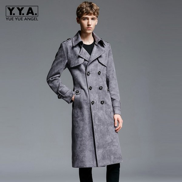 2018 New Mens Maxi Long Coat Sobretudo doppio petto in pelle scamosciata sintetica Army Army Trench Man Cappotti Plus Size 6XL Overcoat