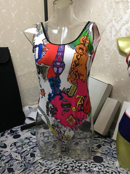 Trajes de baño de una pieza para mujer Todo el cuerpo Impresión Traje de baño de diseñador de moda Sexy lady traje de baño BIKINI