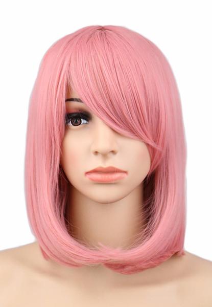 Qqxcaiw Femmes Filles court Bob cosplay perruque droite Costume Parti rose 40 cm perruques de cheveux synthétiques
