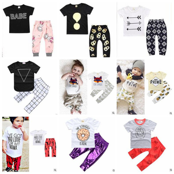 Roupa dos miúdos Ins roupa do bebê Define Meninas dos desenhos animados Floral Tops Calças Fatos Carta Animal Print T-shirt Pants Outfits listrado Camo Pants B5387