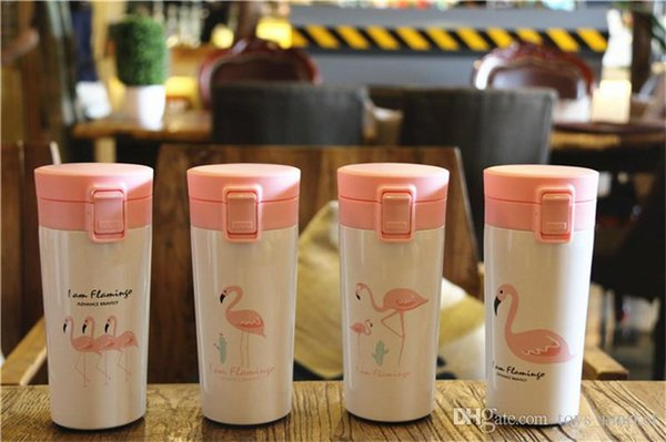 Flamingo Water Bottle Flamingo Mugs 400ML Stainless Steel Insulation Thermos Cup Coffee Mug Kids Tumbler Travel Bottle