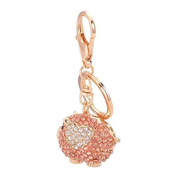 Yeni yaratıcı sevimli kristal domuz anahtarlık çift anahtarlık kadın çanta kolye aksesuarları domuz takı araba anahtarlık