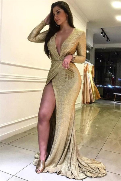 2019 Gold Sequins Prom Dress Sexy High Slit Evening Formal Party Dresses Mermaid Pageant Dress Sweep Train Custom Made