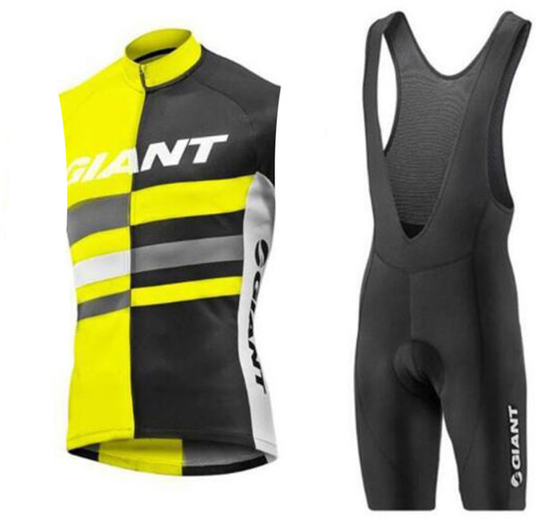 GIANT team Cycling Sleeveless jersey bib Vest shorts sets bike Riding clothing suits mens summer Outdoor Breathable Comfortable Sports wear