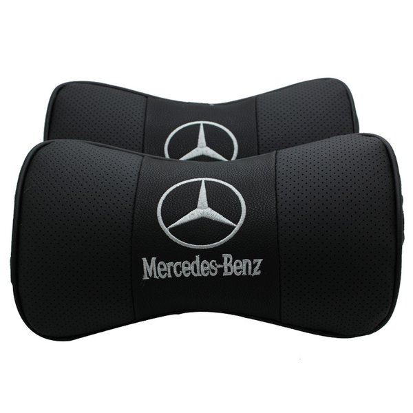 For Mercedes Benz 1PCS PU Leather Car Neck Pillow Support Headrest Seat Cushion Covers Car Styling