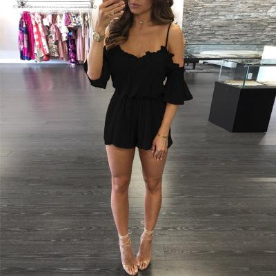 2019 Europe and America Women's Amazon Explosion Beach Casual Comfortable Breathable Dress Lace Shoulder Jumpsuit Jumpsuit